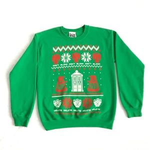 Doctor Who Green Christmas Sweatshirt Small